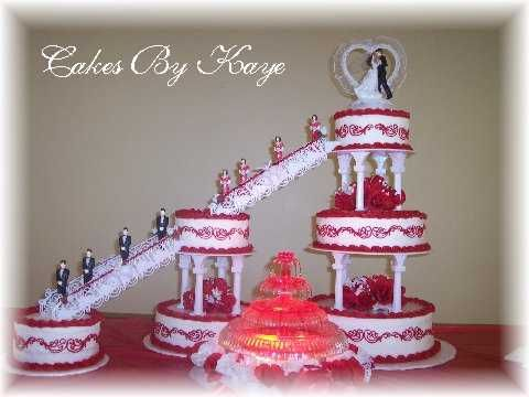 One Stop Wedding  Red And White Fountain Wedding Cakes Red And White Fountain Wedding Cakes