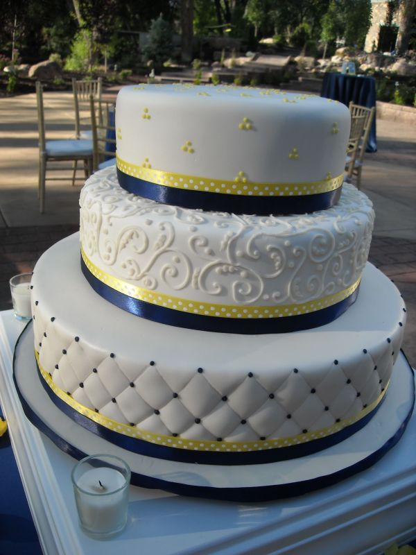 Sunflower themed wedding cake   or  blue and yellow cake   Blue   Yellow Classic Wedding Cake