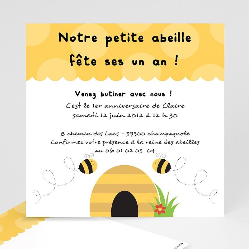 carte invitation anniversaire garcon abeille