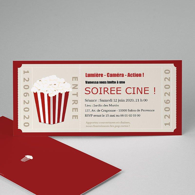 carte invitation anniversaire adulte ticket cinema