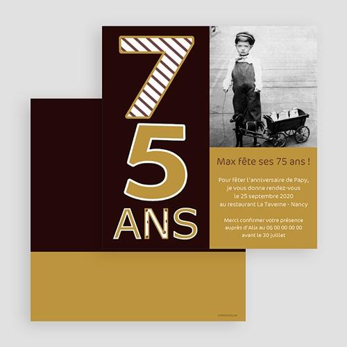 carte invitation anniversaire adulte 75 ans or et chocolat