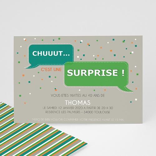carte invitation anniversaire adulte chut surprise