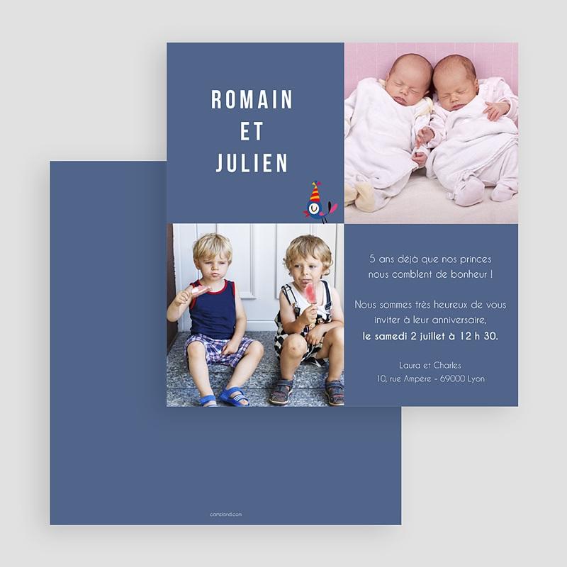 carte invitation anniversaire garcon jumeaux