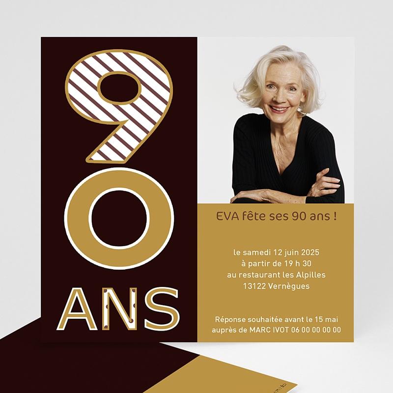 Carte Invitation Anniversaire 90 Ans Echantillon Offert Carteland