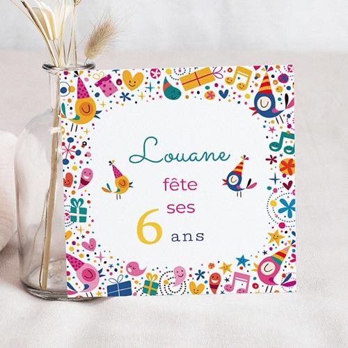 carte invitation anniversaire fille 6 ans en fete