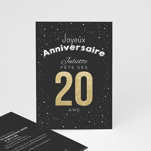 carte invitation anniversaire adulte 20 ans dores