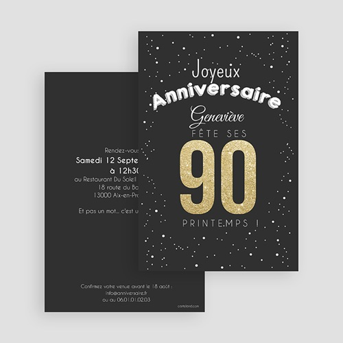 carte invitation anniversaire adulte 90 ans dores