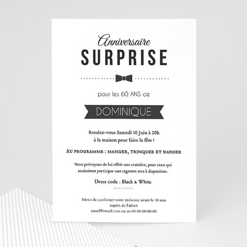 carte invitation anniversaire adulte black tie only