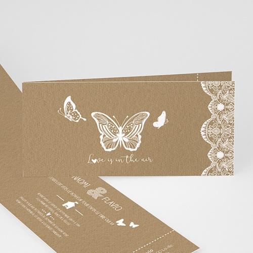 faire part mariage papillon nature dentelle