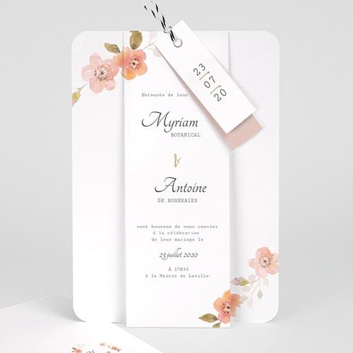 faire part mariage champetre rose botanique