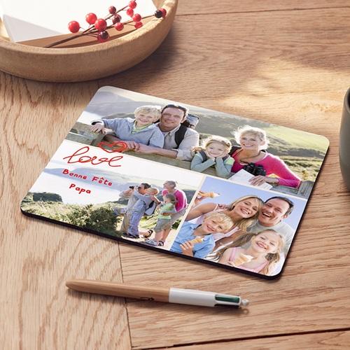 tapis de souris personnalise photo bonheur a 3 photos