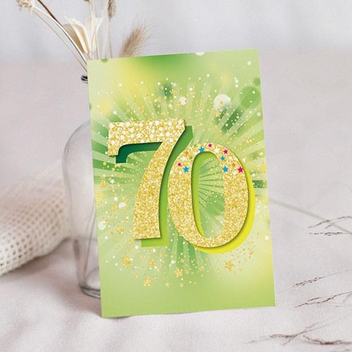 carte invitation anniversaire 70 ans vernis 3d 70 ans 12 x 16 7 cm