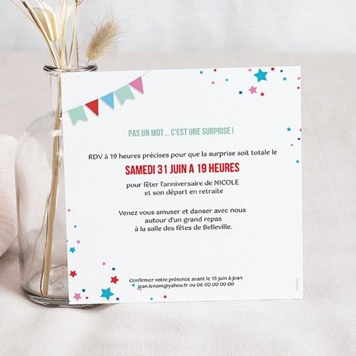 carte invitation anniversaire 60 ans cirque 60 ans vernis 3d carre simple