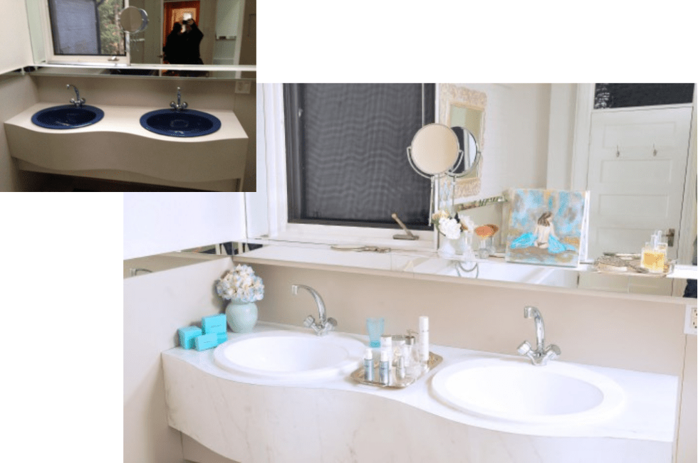 Before and after updating the sink design by Jaclyn Genovese of Spaces by Jacflash