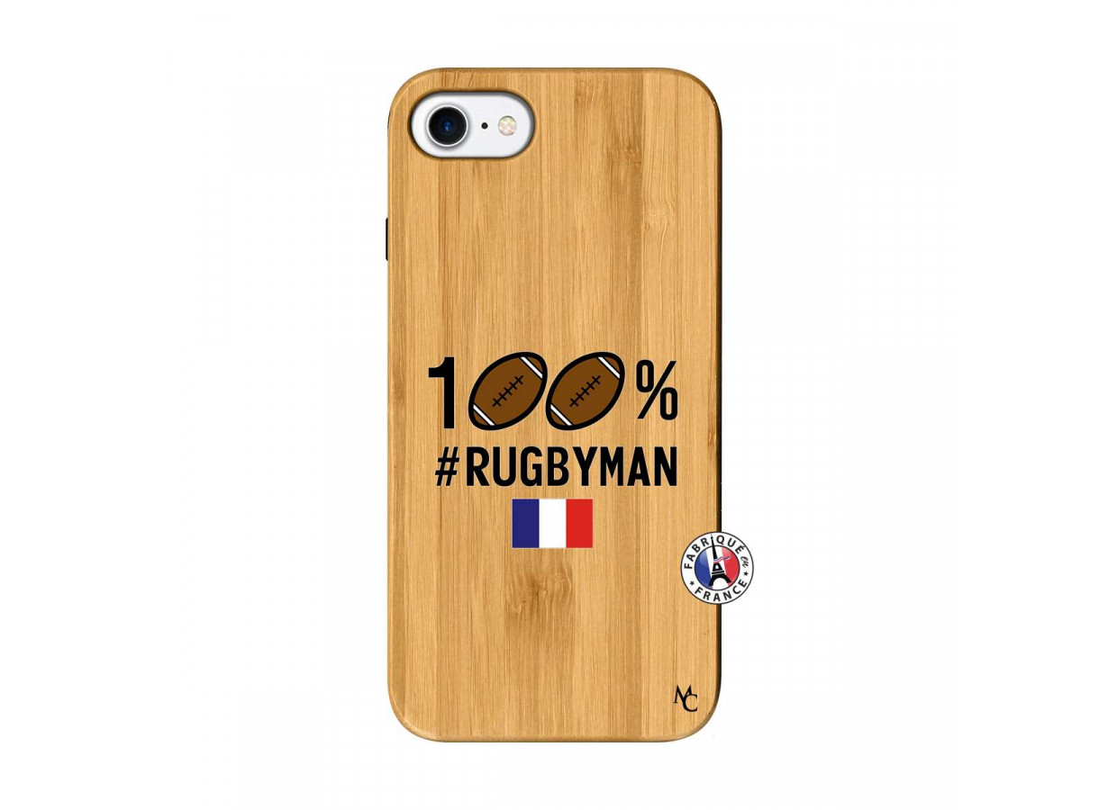 coque iphone 7 8 100 rugbyman bois bamboo master case