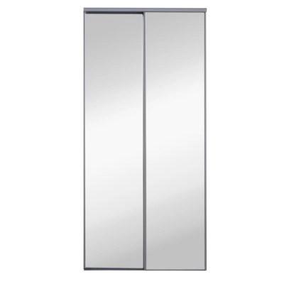 2 portes de placard coulissantes miroir grises 120 x 250 cm