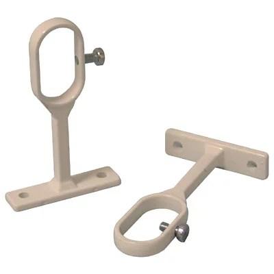 2 supports acier laques blanc pour tringle de penderie 3 x 1 5 cm