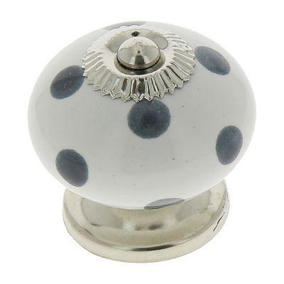 4 boutons de meuble porcelaine blanc a pois gris 4 x 4 cm
