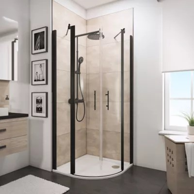 acces d angle arrondi avec porte de douche battantes 80 x 80 cm schulte newstyle verre transparent anticalcaire profiles noirs