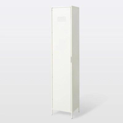 armoire vestiaire goodhome saranda metal blanc l 40 x h 190 x p 36 cm