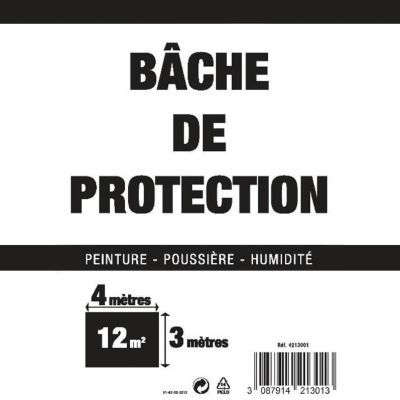 bache plastique de protection 4 x 3 m