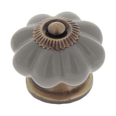 bouton de meuble floral porcelaine gris 4 5 x 3 5 cm