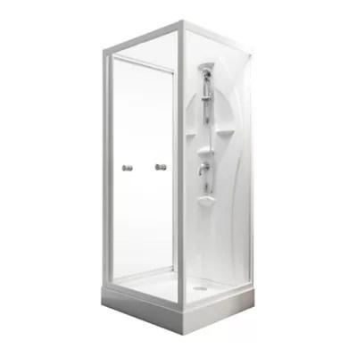 cabine de douche integrale juist vert d eau schulte 80 x 80 cm ouverture vers l interieure