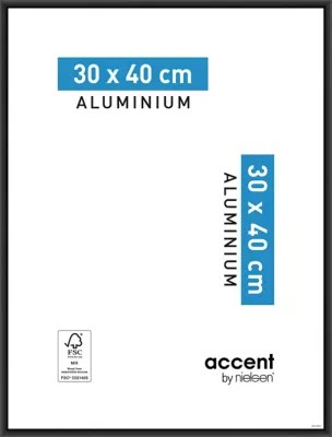 cadre photo aluminium noir accent 30 x 40 cm