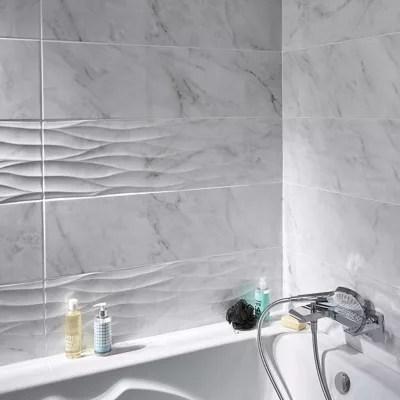 Carrelage Mur Blanc Brillant Effet Pierre 25 X 90 Cm Basento Vendu Au Carton Castorama