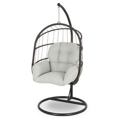 chaise de jardin oeuf metal et toile blooma cannock gris