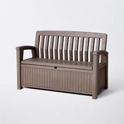 coffre banc de rangement polypropylene keter patio bench 227 l