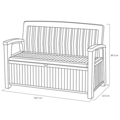 coffre banc de rangement polypropylene keter patio bench 227 l