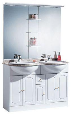 ensemble de salle de bains marbre blanc brillant castorama rimini 120 cm