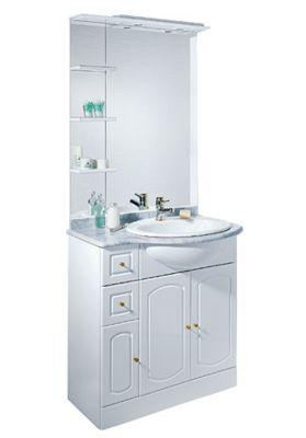ensemble de salle de bains marbre blanc brillant castorama rimini 80 cm