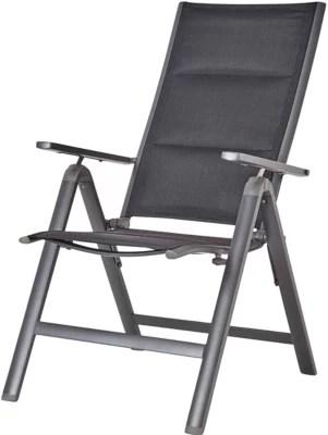 fauteuil de jardin inclinable pliant blooma batz noir