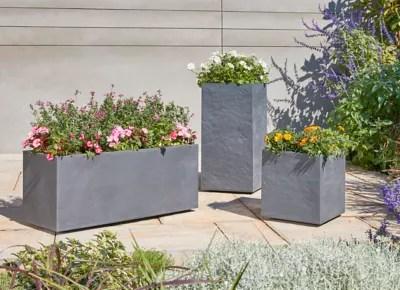 jardiniere plastique blooma volcania gris fonce 100 x 38 7 x h 43 cm