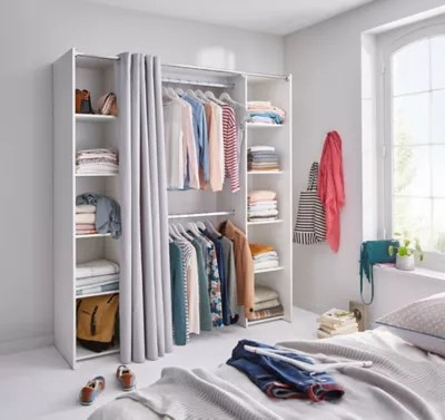 kit dressing coloris blanc h 200 x l 180 x p 48 cm