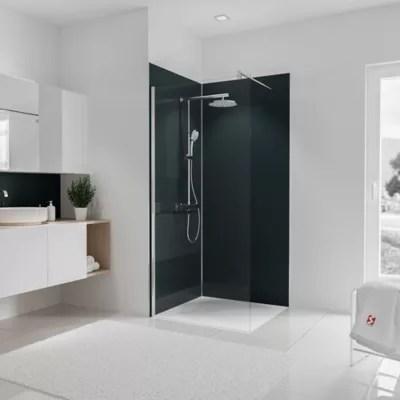 lot de 2 panneaux muraux salle de bains 90 x 210 cm schulte decodesign couleur anthracite