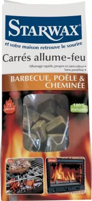 lot de 72 carres allume feu barbecue cheminee starwax
