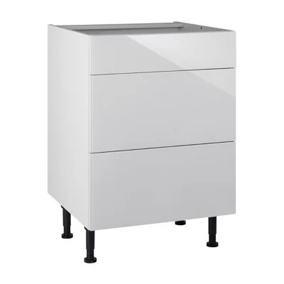 meuble de cuisine artic blanc brillant facade 1 tiroir 2 casseroliers caisson bas l 60 cm