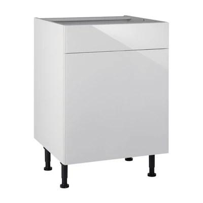 meuble de cuisine artic blanc brillant facades 1 porte 1 tiroir caisson bas l 60 cm