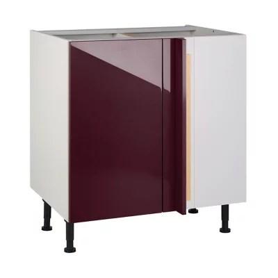 meuble de cuisine gossip aubergine d angle facade 1 porte kit fileur caisson bas l 80 cm