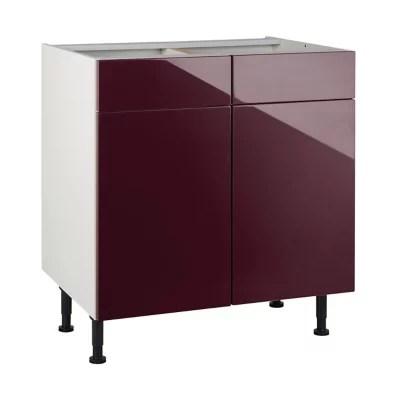 meuble de cuisine gossip aubergine facades 2 portes 2 tiroirs caisson bas l 80 cm