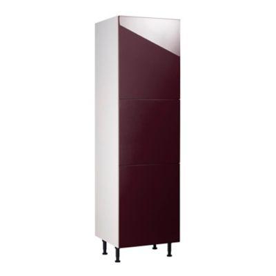 meuble de cuisine gossip aubergine facades 3 portes caisson colonne l 60 cm