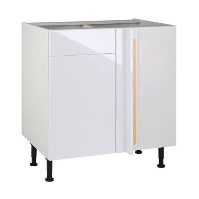 meuble de cuisine gossip blanc d angle facade 1 porte kit fileur caisson bas l 80 cm
