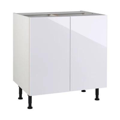 meuble de cuisine gossip blanc facades 2 portes caisson bas l 80 cm