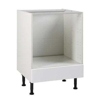 meuble de cuisine ice blanc facade bandeau four tiroir four caisson bas l 60 cm
