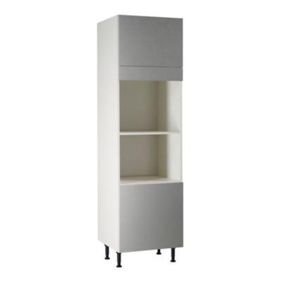 meuble de cuisine ice inox facade 2 portes bandeau four caisson colonne l 40 cm