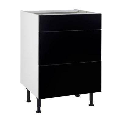 meuble de cuisine ice noir facade 1 tiroir 2 casseroliers caisson bas l 60 cm