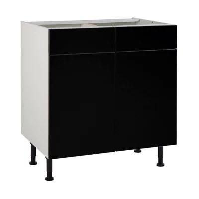 meuble de cuisine ice noir facades 2 portes 2 tiroirs caisson bas l 80 cm